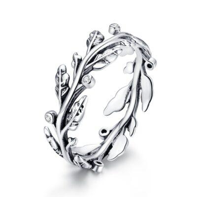 Inel din argint Beautiful Sparkling Leaves
