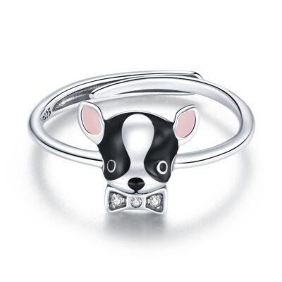 Inel din argint Black and White Puppy