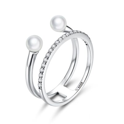 Inel din argint Double Shiny Band & Pearls