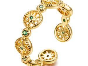 Inel din argint Golden Emerald Sun
