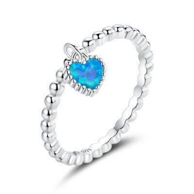 Inel din argint Opal Blue Heart
