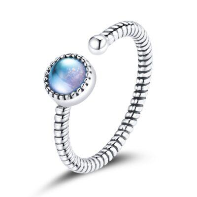 Inel din argint reglabil Iriscendent Blue Stone