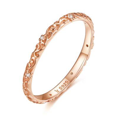 Inel din argint Vintage Rose Gold Band