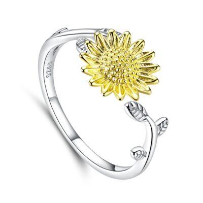 Inel reglabil din argint Golden Sunflower