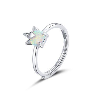 Inel reglabil din argint Opal Unicorn