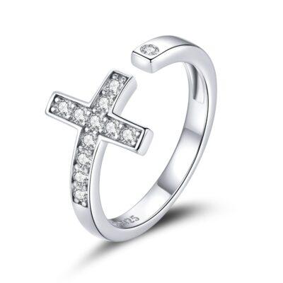 Inel reglabil din argint Sparkling Cross