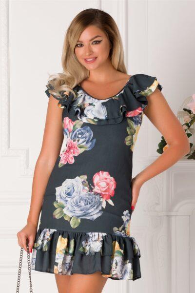 Rochie LaDonna gri petrol cu imprimeu floral multicolor
