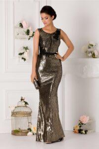 Rochie LaDonna lunga de seara cu paiete aurii si negre
