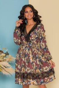 Rochie LaDonna maro cu imprimeu floral si benzi negre la decolteu si mansete