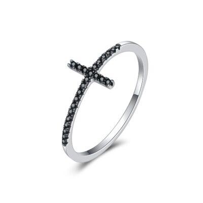 Inel din argint Faith Cross black