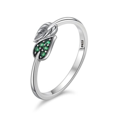 Inel din argint Little Green Leaf