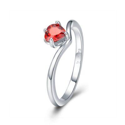 Inel din argint Orange Red Heart