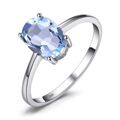 Inel din argint Oval Blue Topaz