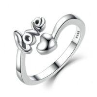 Inel reglabil din argint cu Dragoste