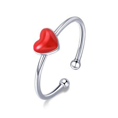Inel din argint reglabil Little Red Heart