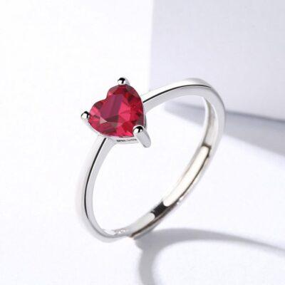 Inel din argint Simple Red Heart