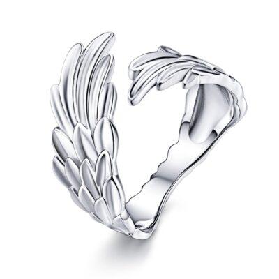 Inel reglabil din argint Guardian Feather
