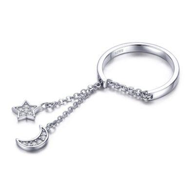 Inel reglabil din argint Moon and Star Link Chain