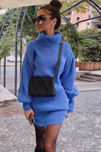 Rochie scurta tip pulover cu guler Maeva Blue