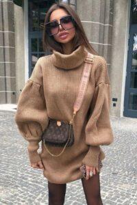 Rochie scurta tip pulover cu guler Maeva Crem