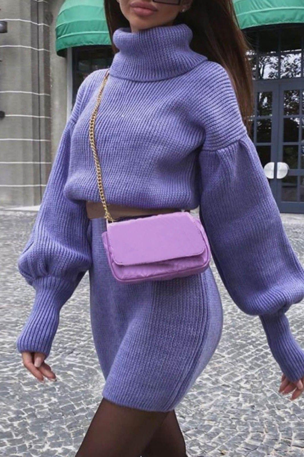 Rochie scurta tip pulover cu guler Maeva Mov